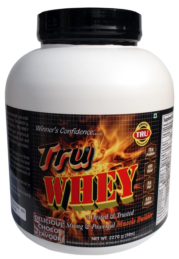 TRU WHEY is prepared for people who need to improve muscle size & strength, you wish to gain muscles' size and strength, you need to add TRU WHEY to your diet. TRU WHEY is a health supplement rich in protein & Branch chain amino acid's (BCA - by amvitpharma, New Delhi