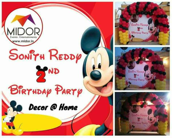 Today(25/04/2015) Sonith Reddy's 2nd Birthday Party @ home, thanks to his Dad & Mom for giving this opportunity.  Thank you Yaleru Raghavendra for referring us www.midor.in #balloondecoration #mickeymousetheme #midorevents #midorentertainments