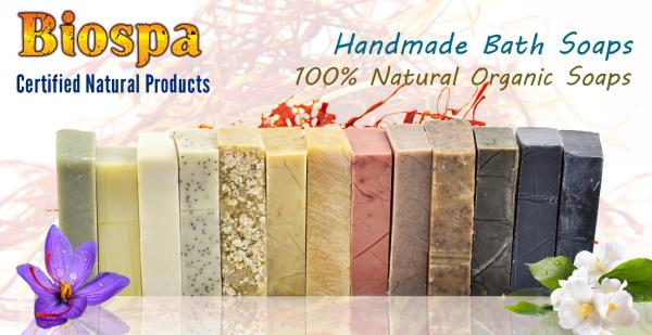 100% certified organic and natural hand made soaps.  Fresh Clean Scents with Virgin Olive Oil.  No synthetic Colours,  No artifical fragrances & No toxins added.  Traditionally handmade in soaps without Palm Oil for sensitive skin.   Our Aroma therapy soaps gives us the best reply from the customers.  Our organic soaps gives brighter skin complexion & youthful looking skin.