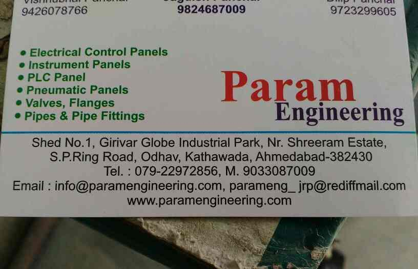 Parma Engineering   contact us for   Electric Control Panel Panel Board,  Pipes and Fittings,  Pneumatic Panels,  Valves,  Flanges  - by Param eng, Ahmedabad