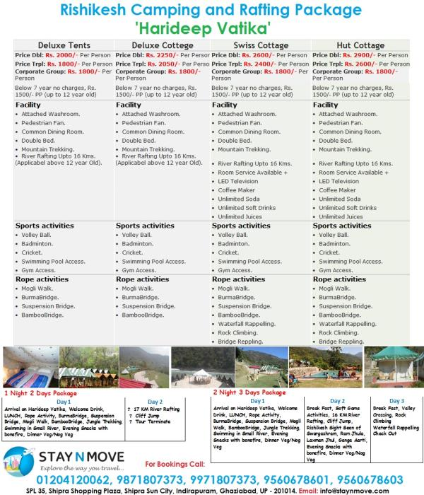 Rishikesh Camping Rafting Packages - by STAY N MOVE Call Us @ +91 9871807373, Ghaziabad