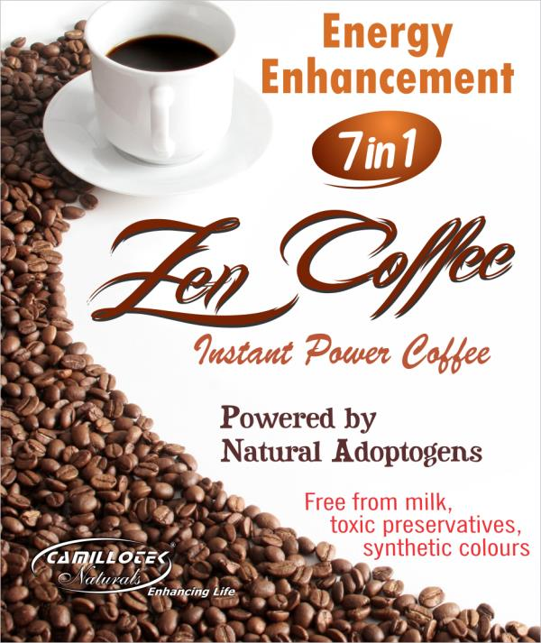 Zen Coffee  100% Natural Instant Power Coffee. 7 herbs in one Coffee. Roasted Coffee Extract. Non-diary Creamer.  Zen Instant Power Coffee powered by Natural Adaptogen Herbs is a true breakthrough in energy enhancement that can rapidly produce ideal cellular resonance for great vitality and increased energy.  It is low in sugar, caffeine. Free from milk, toxic preservatives, synthetic colours and flavors.  Direction: Pour a sachet of Zen Power Coffee 7 in 1 into a cup and add 120 ml hot water and stir well.