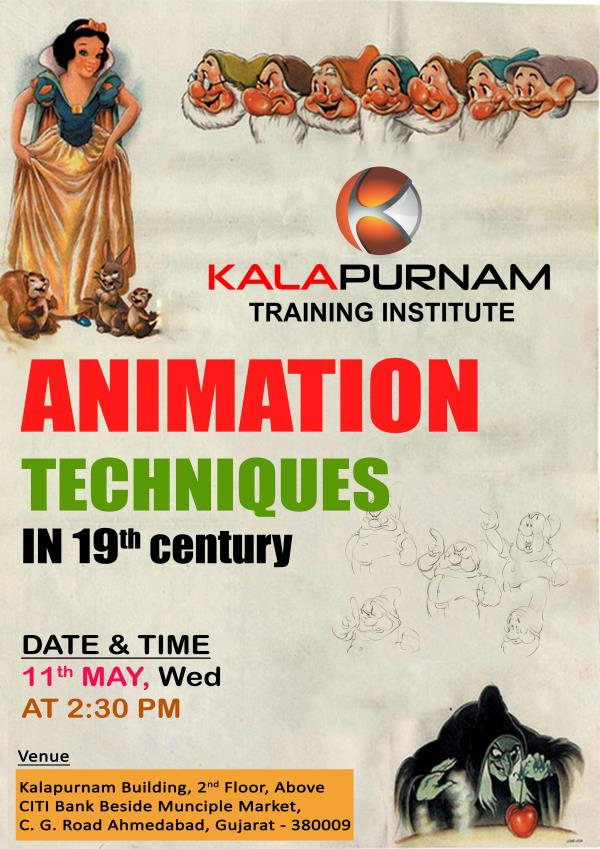 Kalapurnam Institute invites all of student in seminar for animation techniques.  Dear all student this is the seminar for animation techniques in 19th century in the animation industry. The history of animation industries with various movies during the making. The techniques has been changed in 21st century  peoples demands 3d animation and vfx movies with effects  but how artist made animation movie without software and effects in 19th century. Traditional animation (also called cell animation or hand-drawn animation) was the process used for most animated films of the 19th century. The individual frames of a traditionally animated film are photographs of drawings, first drawn on paper. To create the illusion of movement, each drawing differs slightly from the one before it. But now a day animation films created the traditional cell animation process became obsolete by the beginning of the 21st century. Today, animators' drawings and the backgrounds are either scanned into or drawn directly into a computer system. Various software programs are used to color the drawings and simulate camera movement and effects.