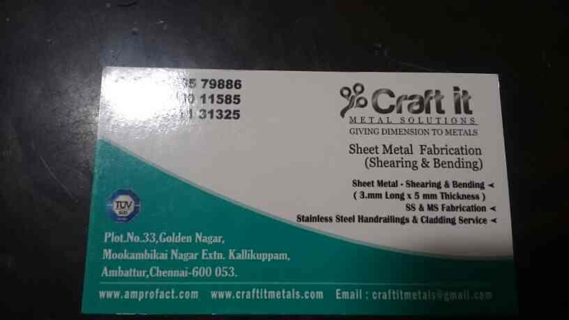 our visiting card for details  - by Craft It Metal Solutions, Chennai
