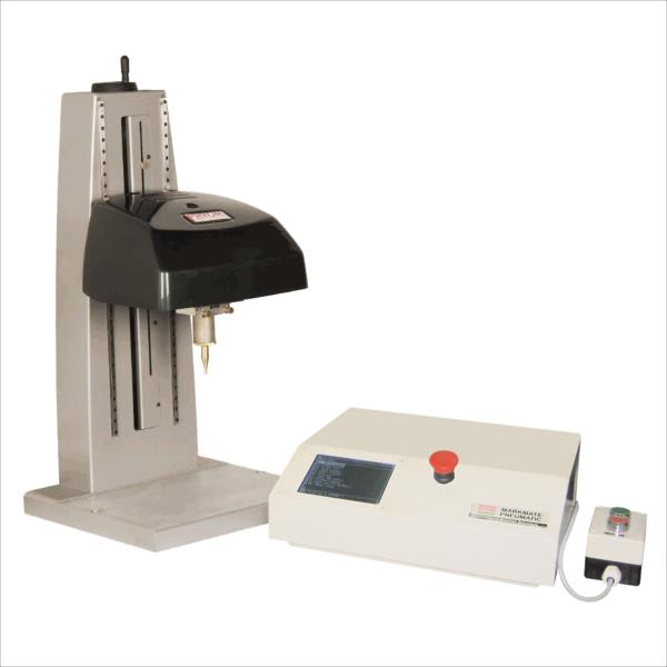 The electromagnetic pin marking machine is a bench mounted dot-peen marking (also known as impression marking or dot marking) machine. These are robust and compact marking devices that can easily integrate into a workshop environment due to their quality build and compact size. The machine is ideal for marking small to medium sized components of unusual shapes and dimensions with alphanumeric information and 2D barcodes. Suitable for marking small to medium sized components of unusual shapes and dimensions Ideal for marking alphanumeric identification and Data Matrix codes Available with a wide range of accessories to tailor to your specific marking requirements Machine of choice for rigorous specifications of dot matrix marking in the aerospace industry A single marking system for all requirements