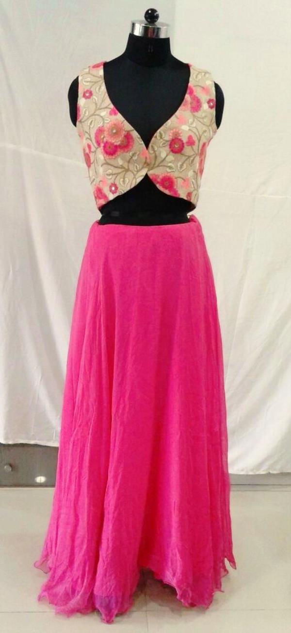 Pink Skirts With Jacket - by Shibori Designer, Ahmedabad