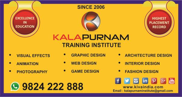 """KALAPURNAM INSTITUTE   •Gujarat's Largest training campus for high- end animation & VFX training. •Full Day Presence & management by Director, results in best quality pass out. •10 th running year of operation, with highest student's strength. •International achievement - IBDAA Awards, Dubai etc. •First Institute in Gujarat having high specification Apple Macintosh system from Singapore. •A new way of learning like Industry Articles , Expert videos, Blogs  •Authorised Adobe Certified Associate ( ACA ) •Only Wacom Authorised Training centre in Gujarat for digital design. •Chroma studio , HD camera , Baby Lights facility for Vfx. •Seminars , Master Classes & Heavy Duty workshops by professionals of Mumbai based leading studios  •Studio visits  •Highest placement Record. •Campus test , campus interview & Campus Recruitment. •Apart from full time faculties, Organizes special lectures by visiting Faculties & webinar. •Enriched with E-library apart from library books & our own designed text books. •Excellent live exposure on real work. •Student enroll at our centre from pan india considering quality. •Specially designed """" Mentor series """" program at the centre where Mentor helps students to devlop student' s work skill up to industry standard level. •Career Development Training.  Join Kalapurnam Training Institute"""