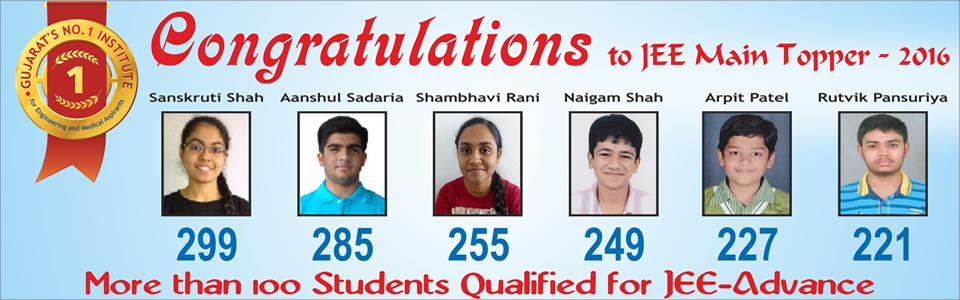 CONGRATULATION to JEE main Toppers -2016 - by eduNova - Science Higher Secondary School, Ahmedabad