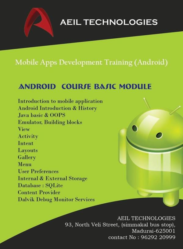 Best Android  Internship Training In Madurai - by Aeiltechnologies, Madurai