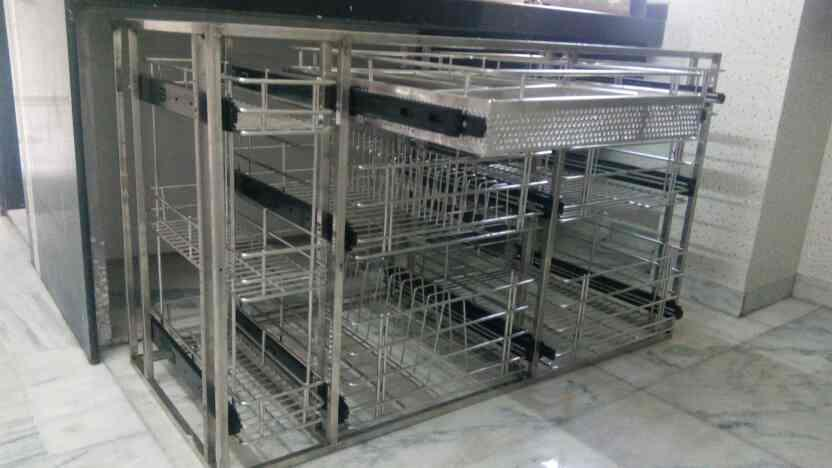 kitchen trollies in stainless steel   - by OM GDESIGNS, Mumbai