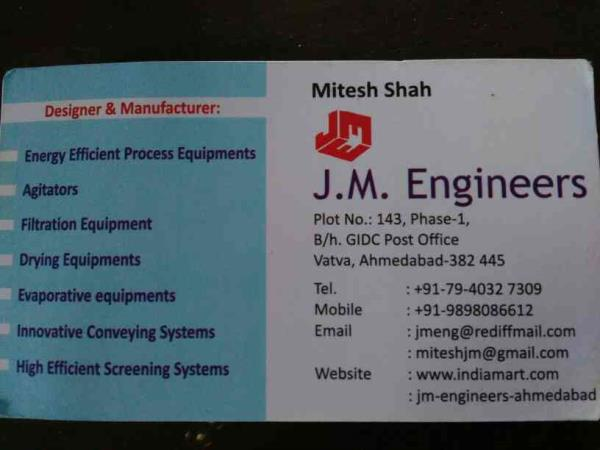 Manufacturers and designers of Drying Equipments, evaporative equipments, innovative conveying systems, high efficient screening systems etx - by JM engineers, Ahmedabad
