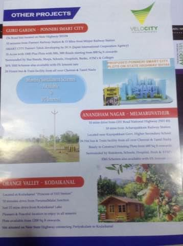 Plots for Sale on Ponneri  - by Velocity Housing 9176407003, Chennai