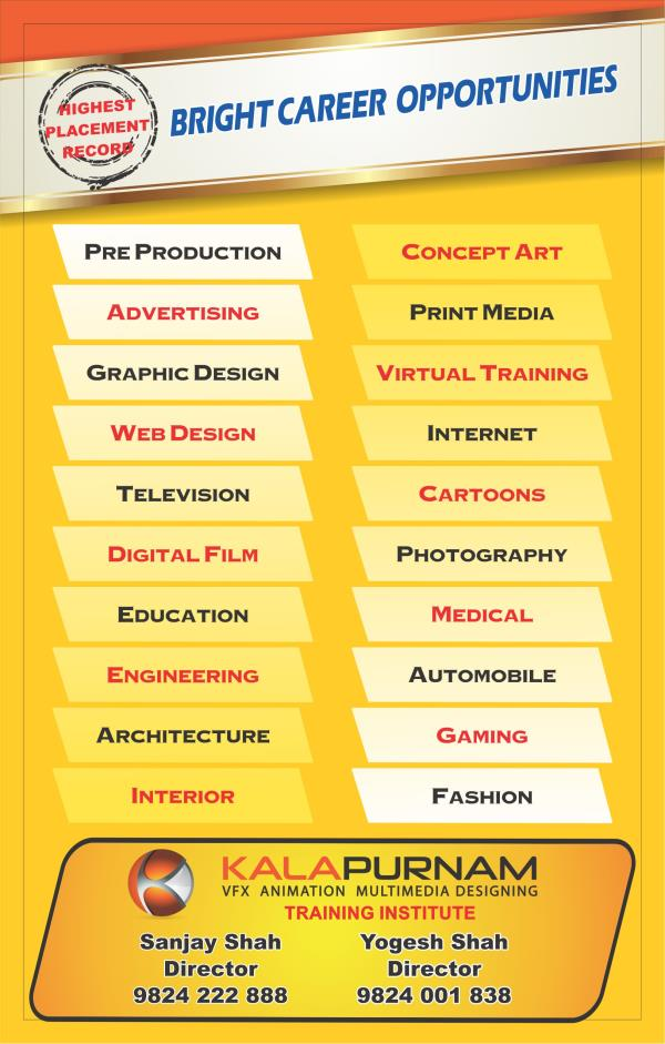 About Kalapurnam Institute :- Kalapurnam institute is the high-end 3D animation & VFX education brand of Ahmedabad. Through its wide network of centres, #Kalapurnam institute has prepared thousands of students for careers in #animation, VFX, filmmaking, gaming, #Web graphics design, and media & entertainment. The Institute provides quality education through career-oriented courses, leading to top-notch job #placements since 2006