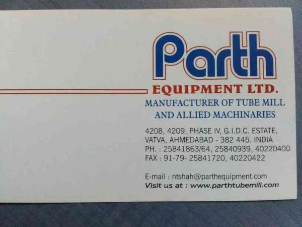 Parth Equipments Ltd.  Manufacturers of Tube Mill and Allied Machineries  - by Parth Equipments, Ahmedabad