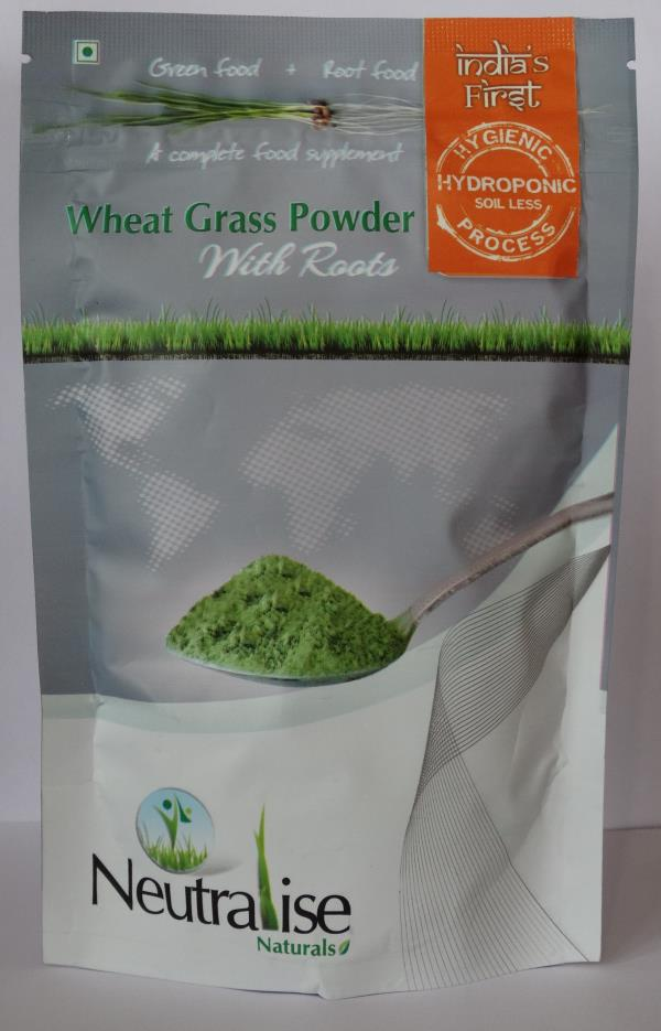 Unique Features of our Wheat grass powder: •	We are India's first wheat grass powder with Roots, grown in a Hygienic, Hydroponic Soil-Less process.  •	In this process the wheat grass is grown in an enclosed air-conditioned environment and harvested on the 7th day. Only single crop is used in this process and we do not go for 2nd and 3rd harvest.  •	Neutralise wheat grass powder has better taste and smoother to consume when compared with other conventionally grown wheat grass products and has no mud smell or sediments. It contains no added flavour, preservatives or colour. •	The leaves of wheatgrass have a cooling effect, whereas the roots produce a heating effect to the body, combining both these characteristics it Neutralises the effect produced by each individually.  •	Roots have more number of amino acids and full of enzymes which help in faster wound recovery. •	Roots have high fiber content and good amount of magnesium to improve the digestive system of the body and to deal with the constipation disorders.  Benefits of using Neutralise Wheat grass powder: •	Best Detoxifier, and helps in decrease of fat levels. •	Helps in Controlling blood sugar level, BP, cholesterol, cancer and thyroid. •	Improves Immunity, energy levels and revitalizes the body.  •	Improves digestion and controls acidity, helps for proper bowel movements. •	Helps in anti greying of the hair, cure skin diseases, improves skin and muscle tone. •	It provides the necessary vitamins, proteins, minerals, dietary fiber and chlorophyll.   •	Maintains the hemoglobin levels of blood. •	Slows down the aging process. •	Helps to improve the reproductive health of both men and women.  •	Helps to eliminate toothache and other mouth problems. •	Helps to reduce body and joint pains and helps in faster wound recovery. •	Wheat grass contains upto 70% chlorophyll, which is an important blood builder and neutralizes toxins in the body, helps to purify Liver and in normalizing blood pressure. •	This is the simplest and most convenient way to increase Immunity, the root content will boost energy levels & revitalizes your body.  How to use.. Mix 3 grams (one tea spoon) of Neutralise wheat grass powder in a glass of Luke warm water (200ml) and stir before drinking. Do not eat for 30 minutes before and after drinking.