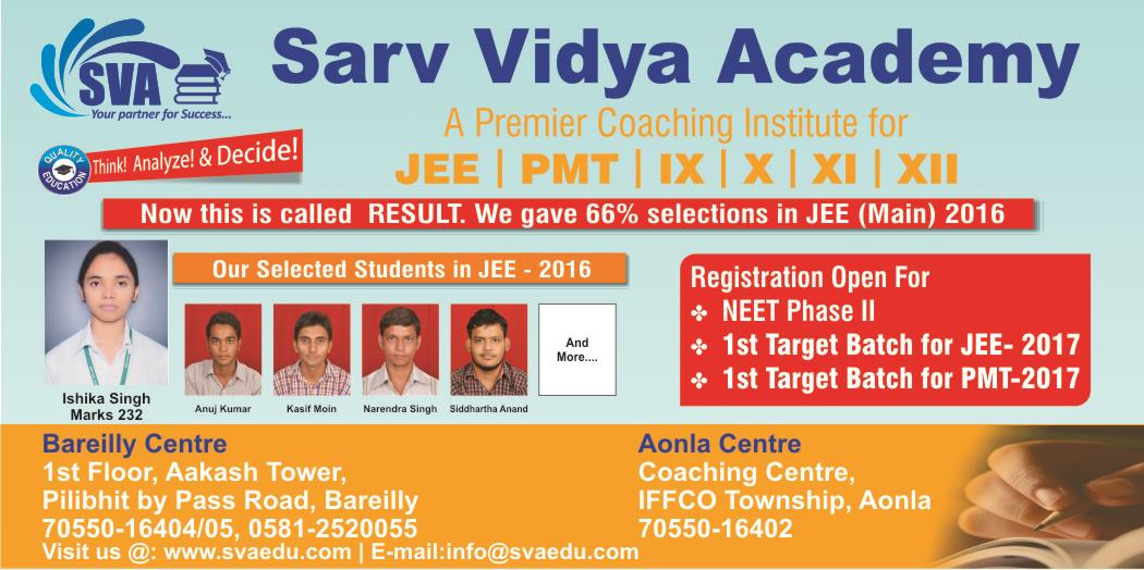 we gave 66% JEE MAINS (MAIN) 2016  For Best Medical and Engineering coaching Institute in Bareilly - Uttar Pradesh  - by Sarv Vidya Academy, Bareilly