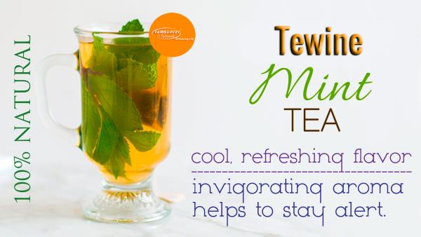 Tewine Mint & Green tea Blend 100% Natural  Health Benefits of Mint Tea : A cup of Mint tea will soothe an upset stomach and relieve heartburn.  Mint tea has a cool, refreshing flavor and an invigorating aroma that can helps to stay alert.  The aroma of Mint tea can boost mental performance and promote focus.  Mint tea can help loosen congestion and relieve coughing associated with colds and allergies.  Mint tea can relieve bad breath caused by smoking, drinking alcohol or eating onions or garlic.