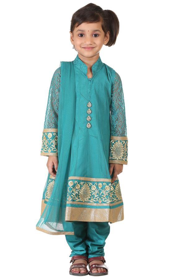 Buy Ashwini Girls Netted Embroidery Green Salwar for Girls from age 2-8 years at http://Singlekart.com/ Currently available for Customers in Bangalore. #singlekart RHClothing                         http://www.singlekart.com/Salwar-Suits/As - by Rohit Garments, Bengaluru