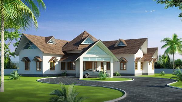 Newly modernized houses with variety of designs like Kerala house