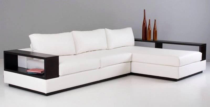 Sofa set with chaise having solid wood armrest. Available in fabric and leatherite.. - by Modern Living, Hyderabad