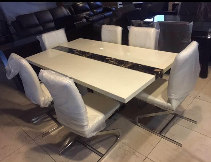 Marble Top Dining Set with 6 chairs. Solid and elegant... Price: INR 95000 inclusive of all taxes. - by Modern Living, Hyderabad