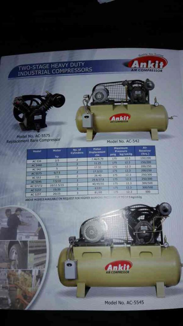 All types of two stage heavy duty industrial comoressors