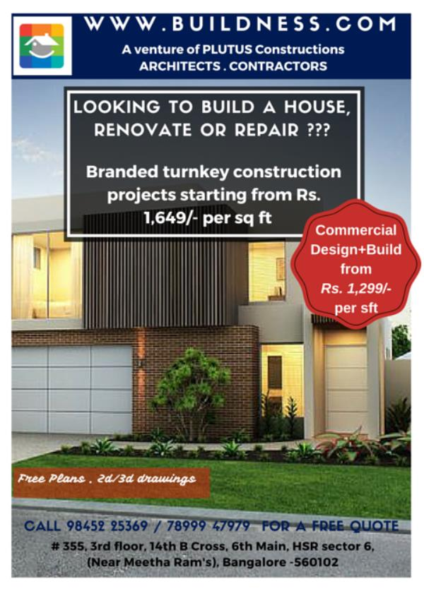 Residential turnkey construction packages starting from Rs. 1649/- per sq ft... - by BUILDNESS.com - For all your construction needs, Bengaluru