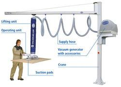 Vaccum Lifters Application:- Fast and frequent lifting and moving of workpieces weighing up to 100 kg, for example: • Handling goods such as cardboard boxes, bags, barrels, buckets and jugs within in-house logistics processes • Loading and unloading CNC machining centers Your Benefits • Increased productivity thanks to reduced handling and loading times • Secure, damage-free gripping by using vacuum • Minimization of downtime due to employee injury • Increase in employee motivation • Only one person for handling