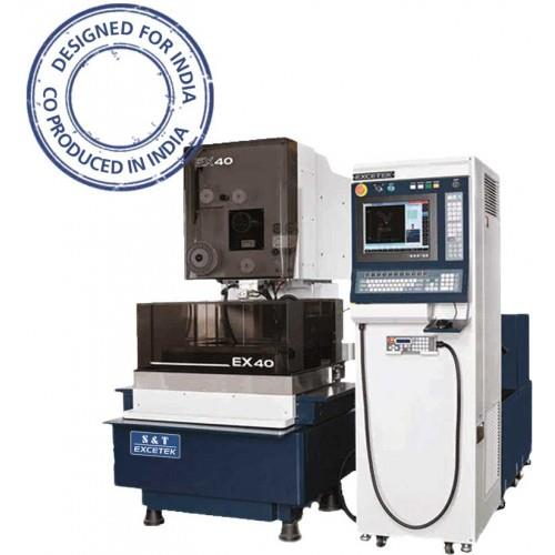 EDM Machines  S& T - EXCETEK EX-40   Wire-Cut Type Of Machine Purpose Of Making Tools (Dies) From Hardened Steel  Description  SHORT CIRCUIT SOLUTION  HIGH FREQUENCY CALCULATING AND PULSE CONTROL  RTS (Real Time Sparking)  CNC Controller   - by S&T ENGINEERS, Coimbatore