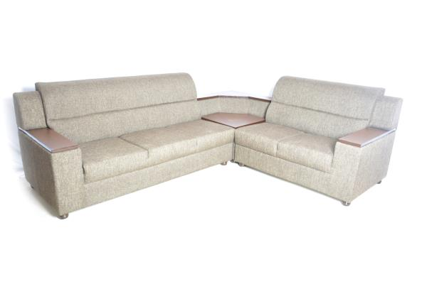 corner sofa fabric military grey - by NATURE WOOD FURNITURE, Bengaluru