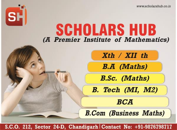 We provide Mathematics coaching for all levels, whether it is 11th, 12th or graduation level i.e. BA, BCA, BSc and B.Tech