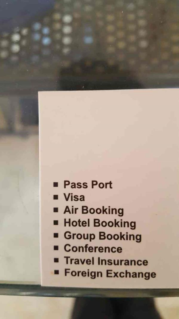 Following are the services we provide and promote at Leisure trips travel agency.  kindly find our card! - by Leisure Trips, Ahmedabad
