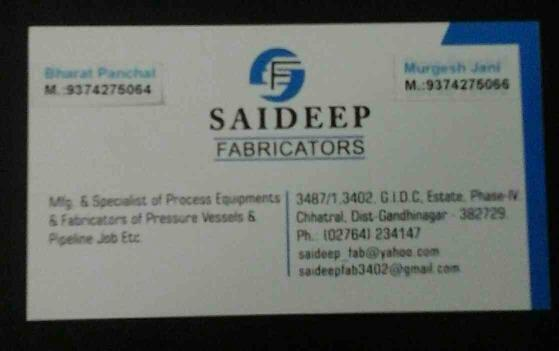 Saideep Fabricators is Manufacturer & Specialist of Process Equipments & Fabricators of Pressure Vessels & Pipeline Job Etc