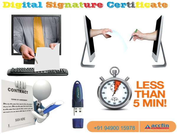 Digital Signature Certificate and e-Filing of Incomes Taxes  Why do I need a Digital Signature Certificate? A Digital Signature Certificate authenticates your identity electronically. It also provides you with a high level of security for y - by Accfin Solutions, hyderabad