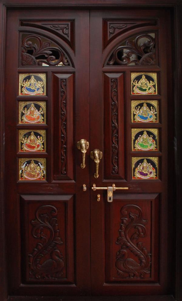 Pretty pooja room sandiv art gallery in coimbatore india for Pooja room entrance door designs