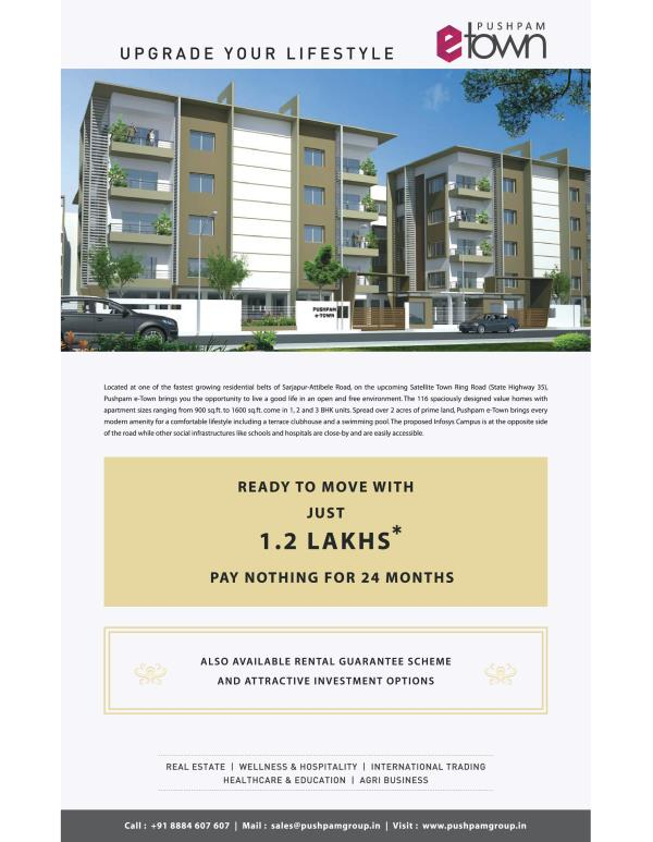 Residential apartments @ sarjapur-Attibele Road  Set amidst one of the largest residential township on Sarjapur-Attibele road, off 300 M from main NH – 35 state highway .