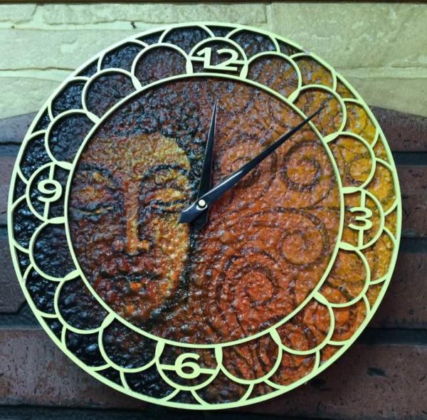 Handmade wall clock manufacturers in jaipur....supplier of wall clock in india Latest creative laser cut designs used in development of clock with colours