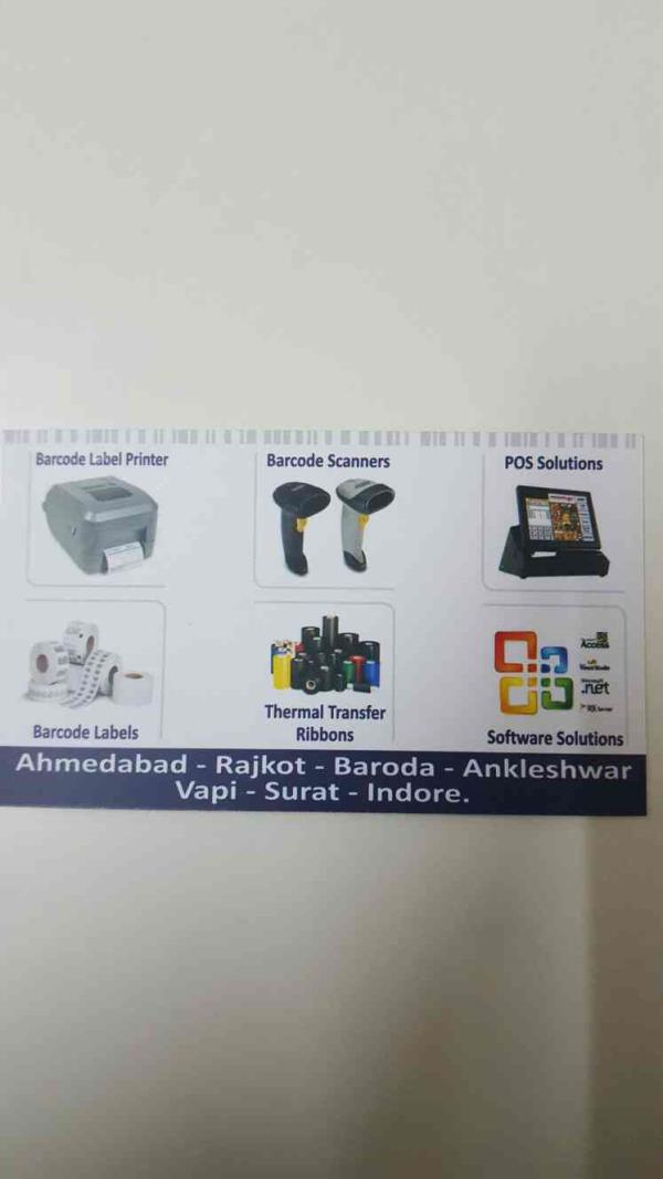 Our major products includes  *Barcode Label Printer *Barcode Scanners  *POS Solutions *Barcode Labels  *Thermal Transfer Ribbons *Software Solutions  For more info feel free to call Mr. Jignesh Thakkar at +91-9898386404 - by Mahesh Barcode Solutions, Ahmedabad