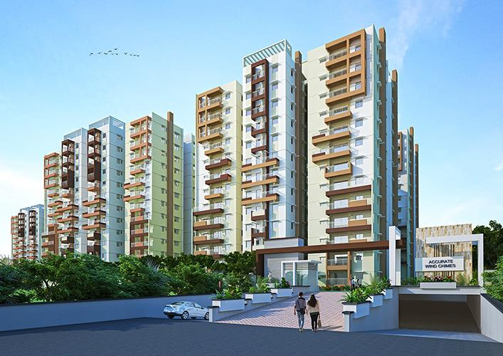 Gated Community in Hyderabad  Accurate Wind Chimes is a Gated Community spread across 6.5 acres. We have a total of 8 towers which is a G+12 high rise project comprising of 582 units. It has a mix of 2BHK & 3BHK. The sizes of apartments in  - by Accurate Wind Chimes, Hyderabad