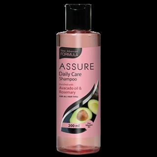 New Assure Daily Care Shampoo enriched with avocado oil and rosemary extract helps to manage moisture level without striping of its natural oils. It adds extra bounce to the hair leaving the hair glossy, smooth and healthy.  Net contents: 200 ml | MRP Rs.180.00/-