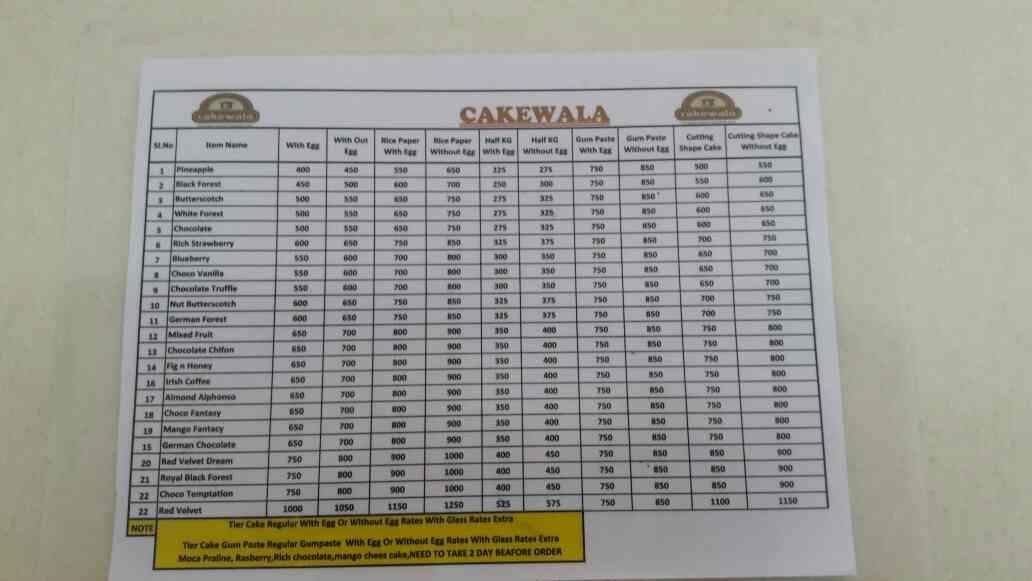 cake wala menu