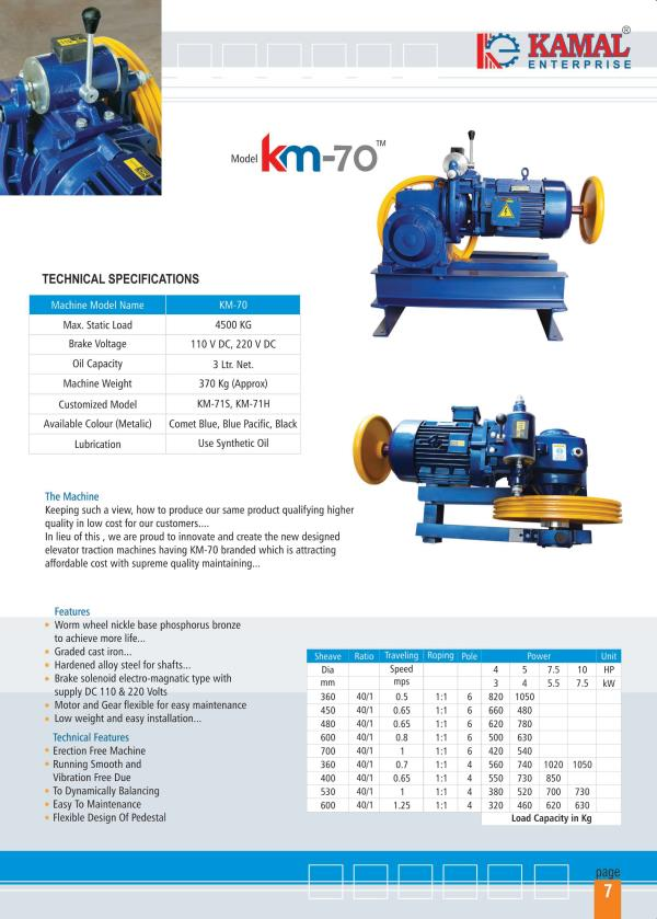 KAMAL MONTENARI TYPE ELEVATOR TRACTION MACHINE FOR HIGH RISE BUILDING