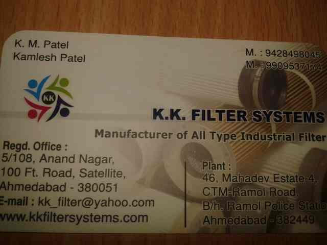 we are manufacture of all type of industial filter in ahmedabad . - by K K Filter Systems, Ahmedabad