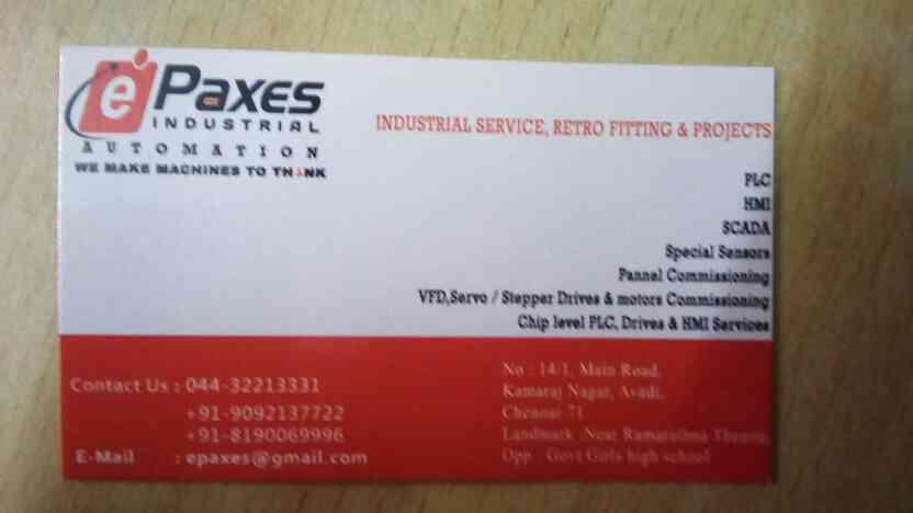 we are the best industrial automation in avadi - by Epaxes Industrial Automation , Chennai