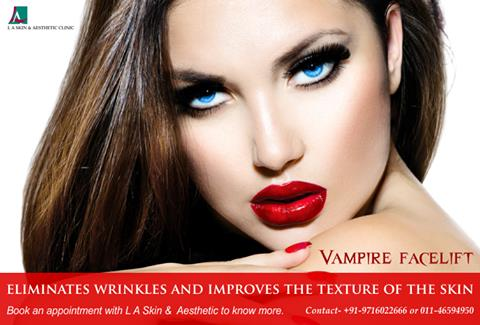 Vampire facelift eliminates wrinkles and improves the texture of the skin. Book an appointment with L A Skin and Aesthetic Clinic to know more.  #LAskin #la #laskinaesthetic #pigmentation #skintightening #antiaging #wrin - by L A Skin & Aesthetic Clinic, New Delhi