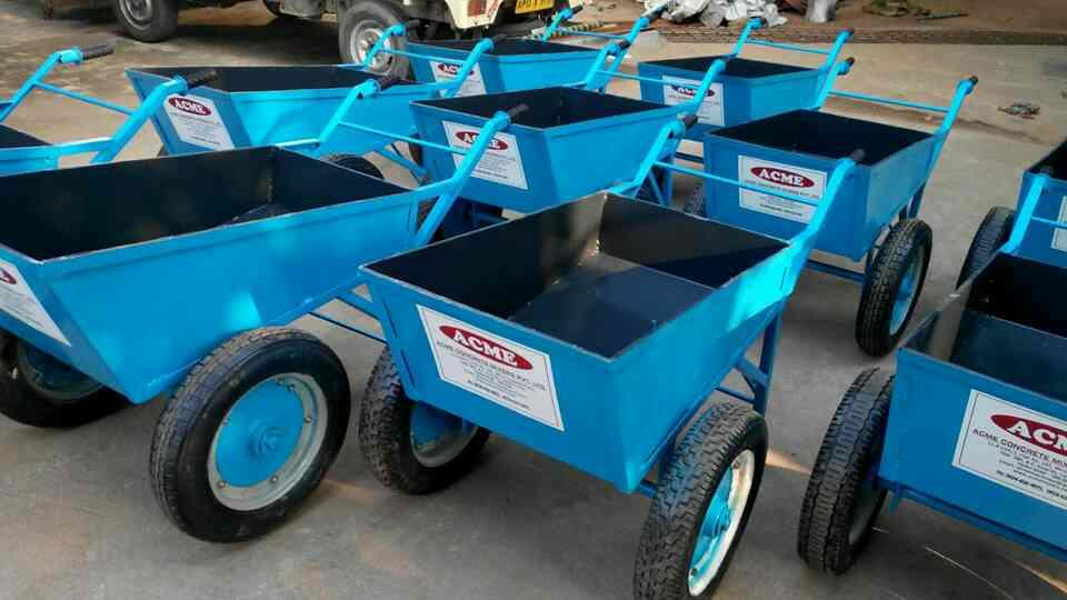 WHEEL BARROWS - Fitted with 2 Nos Scooter Wheels especially designed Wheel Hub, Heavy Duty CST Iron with Bearing for Heavy Concrete Load instead of Ordinary.