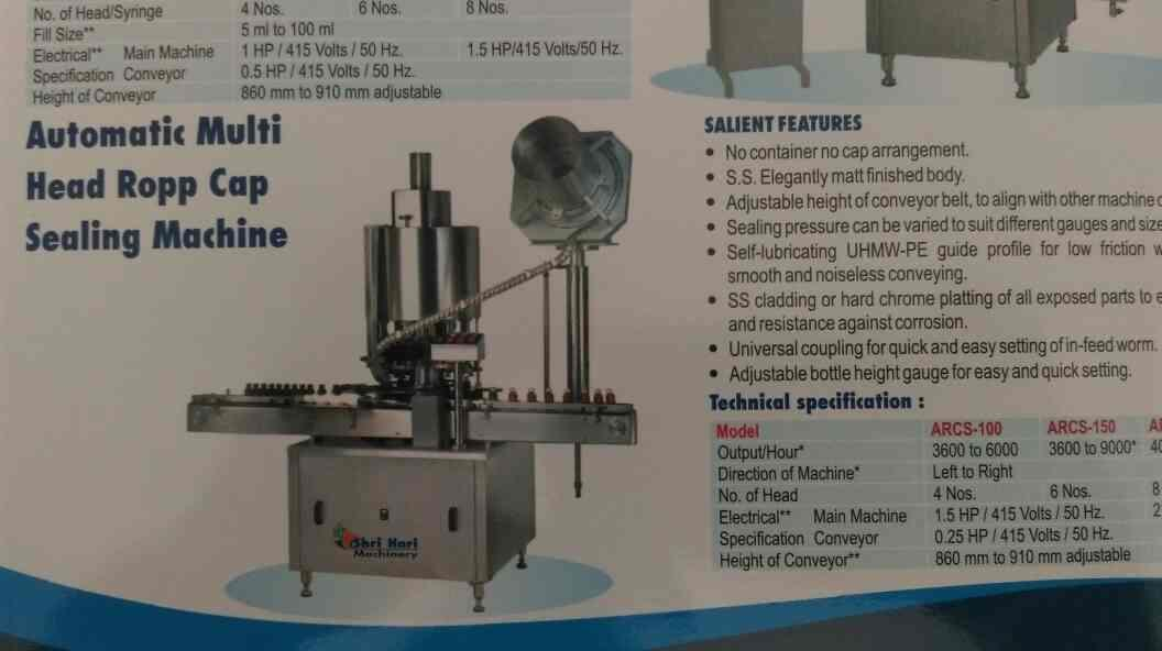 we are leading manufacturer of automatic multi head ropp cap sealing machine in in Ahmedabad  contact us  www.shriharimachinery.com - by Shree Hari Machinery, Ahmedabad