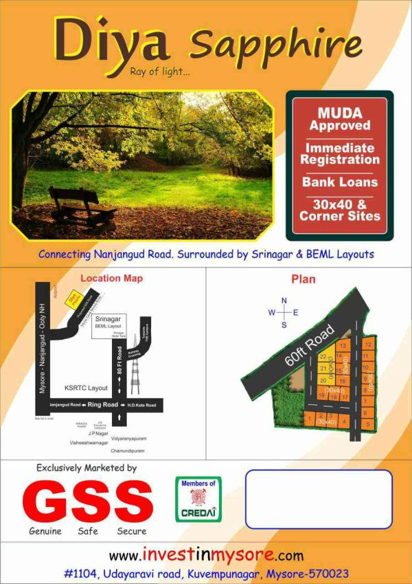 MUDA approved sites at Mysore.. immediate registration...Bank loans available.. - by GSS Project Consultant (P) Ltd, Mysore