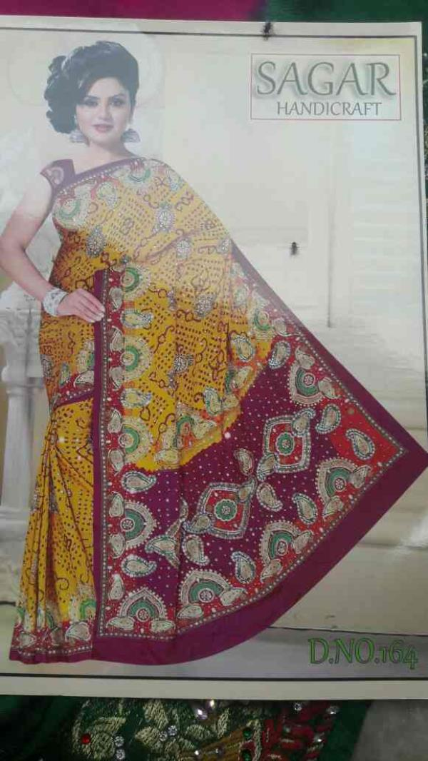 Gaji Bandhni handwork saree - by Sagar Handicraft, Rajkot