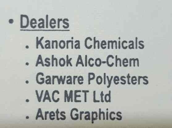 Poojan Marketing is the authorized dealer of ::  - KANORIA CHEMICALS - ASHOK ALCO-CHEM - GARWARE POLYESTERS - VAC MET LTD - ARETS GRAPHICS  Contact us for more info  Good day! - by Poojan Marketing, Ahmedabad